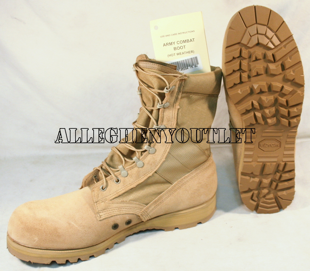 US Military DESERT TAN COMBAT BOOTS Sierra Vibram Sole USA Made ...