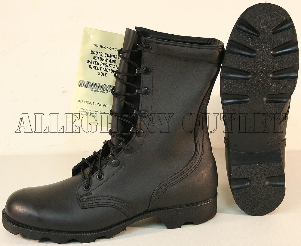 NEW USGI Military LEATHER Speedlace PANAMA SOLE Combat Boots BLACK ...