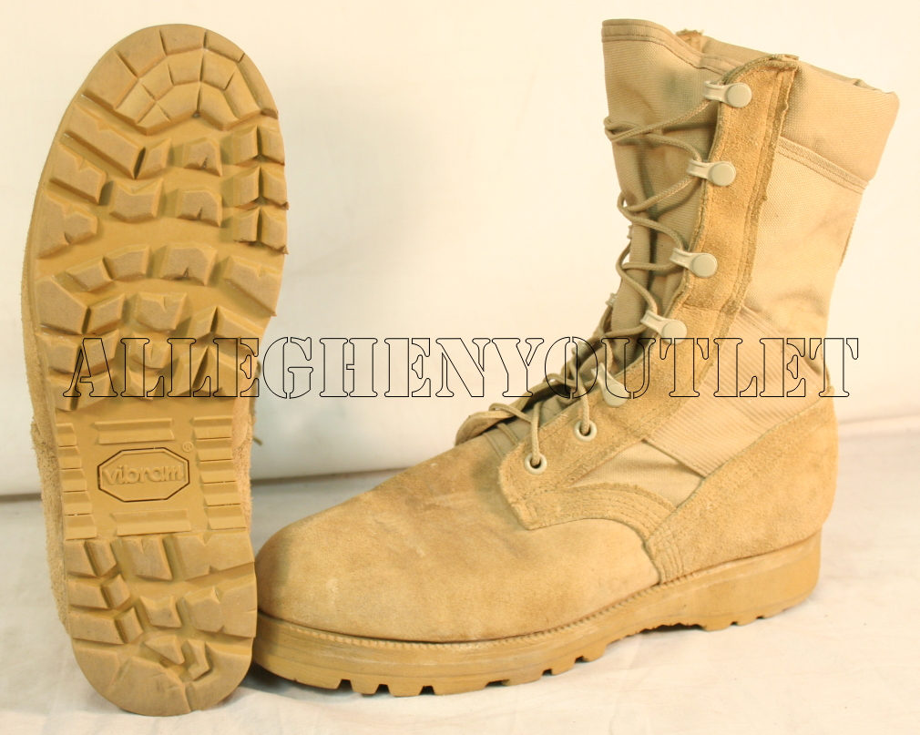 USA Military sz 11 Desert Tan Army Combat Flight Work Boots Suede GoreTex Vibram