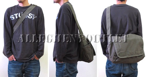 Black Classic Army Messenger Heavy Weight Shoulder Bag 18