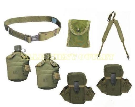 NICE US Army OD Y Suspender LBE w/ 2 Canteens with Cases / 2 Ammo ...