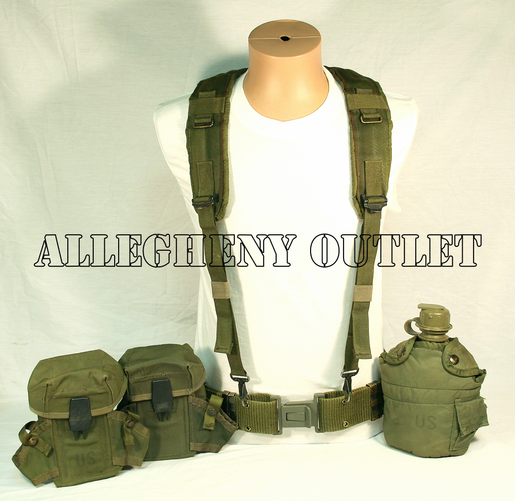 GENUINE U.S. MILITARY ISSUE LC-2 ALICE Pistol Belt / 1QT Canteen and ...